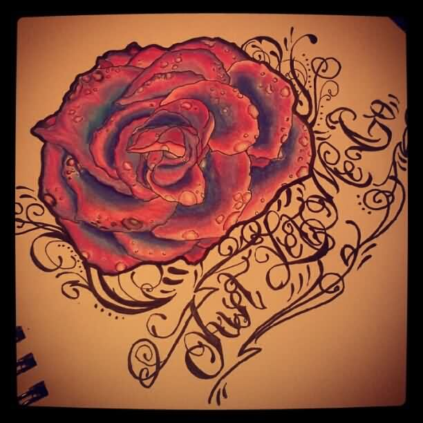 Banner Timepiece And Roses Tattoo Design
