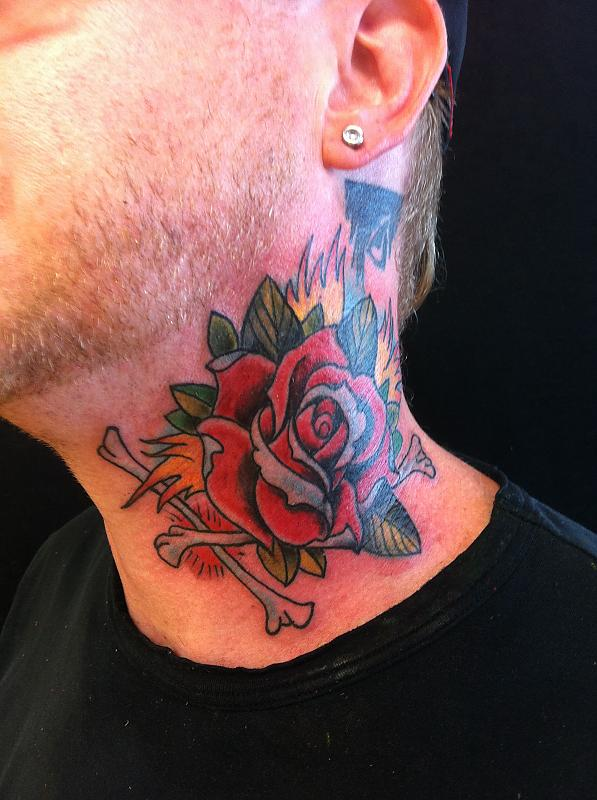Red Rose And Bone Tattoos On Neck