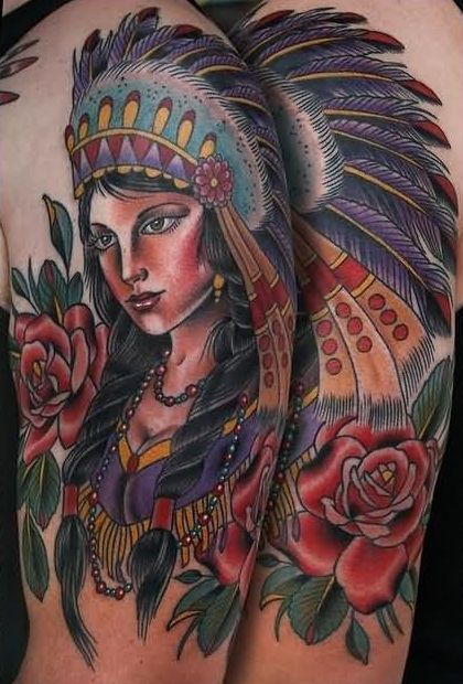 Red Rose And Girl Native American Tattoos