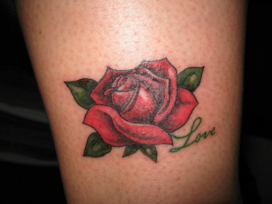 Red Rose And Love Word Tattoos