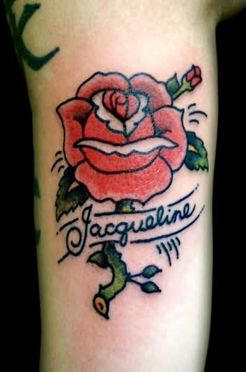 Red Rose And Name Tattoos