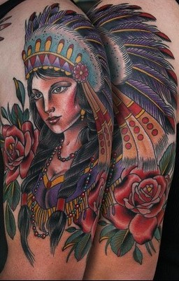 Red Rose And Native American Girl Tattoos