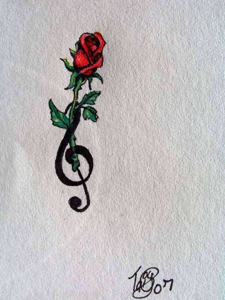 Red Rose And Treble Clef Tattoo Design