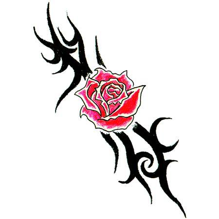 Red Rose And Tribal Tattoo Stencil