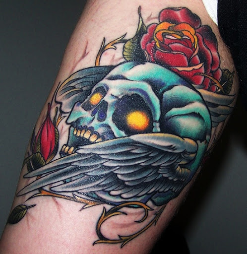 Red Rose And Winged Skull Tattoo