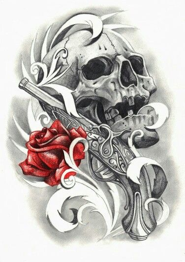 Red Rose Pistol And Skull Tattoo Designs