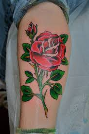 Red Rose Tattoo On Leg For Young Girls