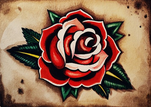 Red Rose Tattoo Poster