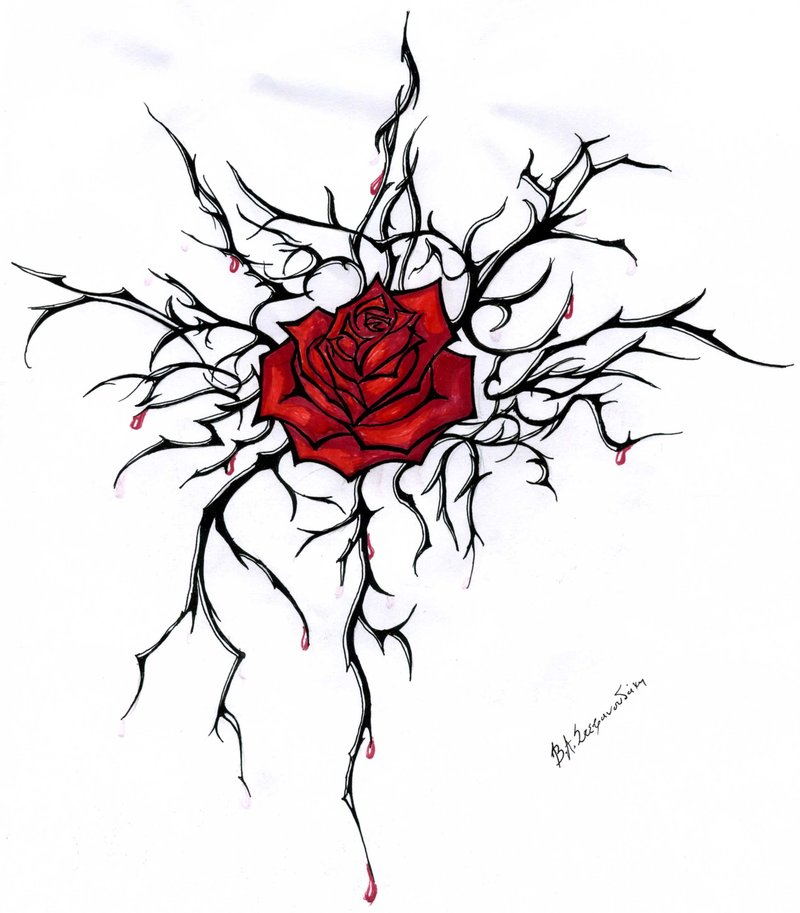 Red Rose Tattoo Stencil