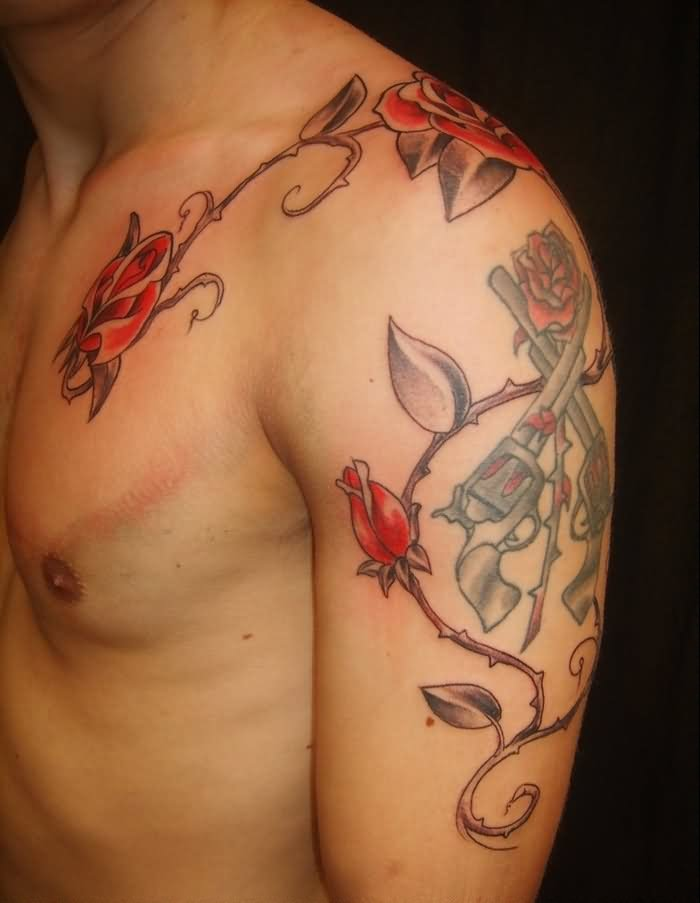 Red Rose Vine And Crossed Pistol Tattoos