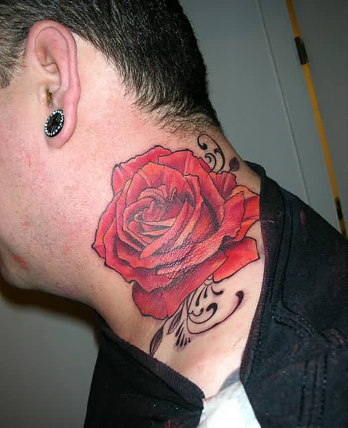 Red Rose With Swirls Tattoos On Neck