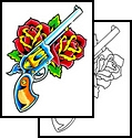 Red Roses And Pistol Tattoo Design