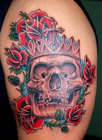 Red Roses Around Crowned Skull Tattoos