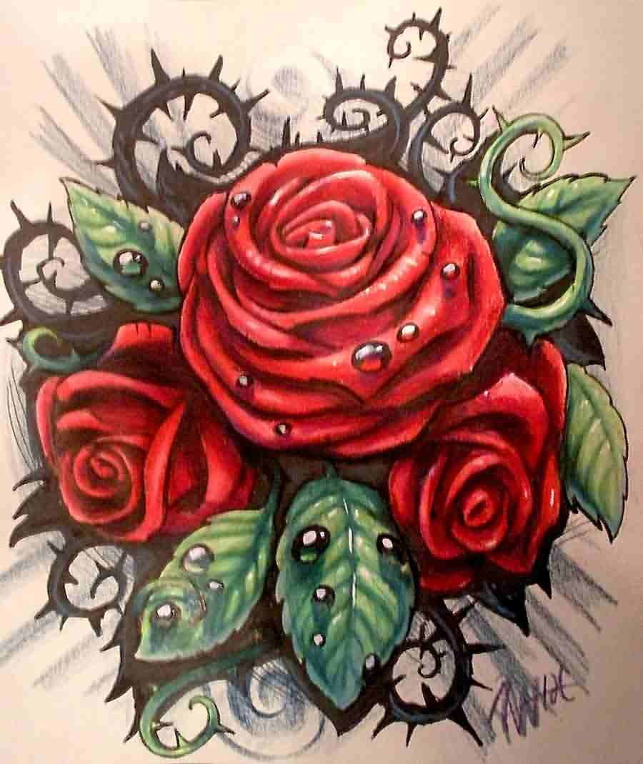 Red Roses Tattoos Designs