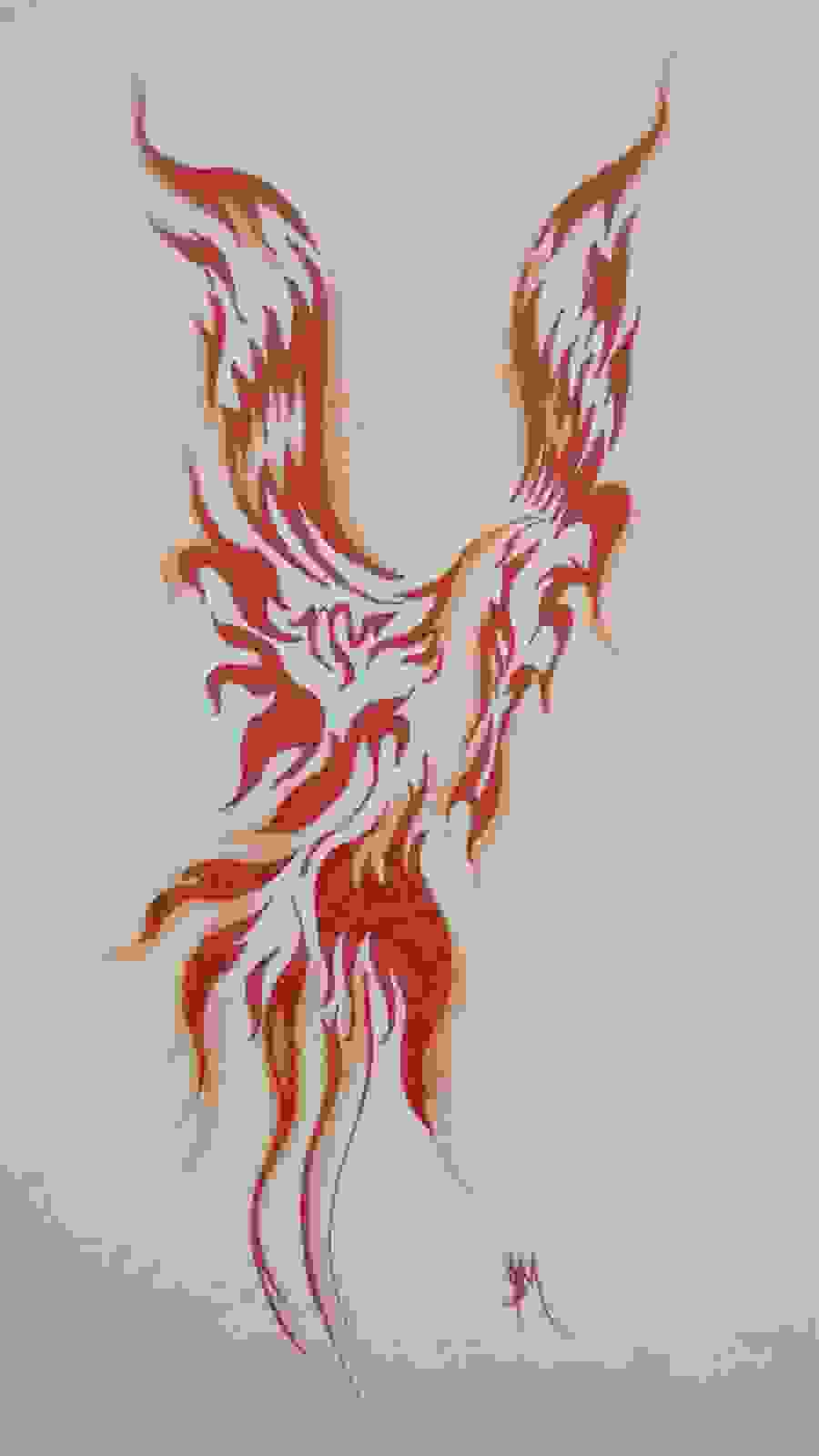 Red Tribal Phoenix Tattoo Design