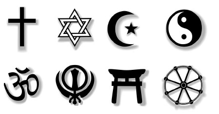 Religion Symbols With Drop Sha Tattoo Design