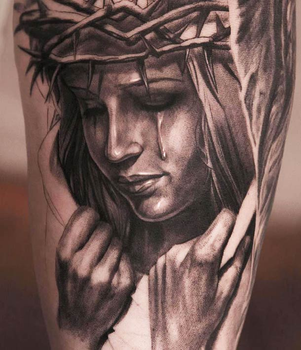 Religious Weeping People Portrait Tattoo