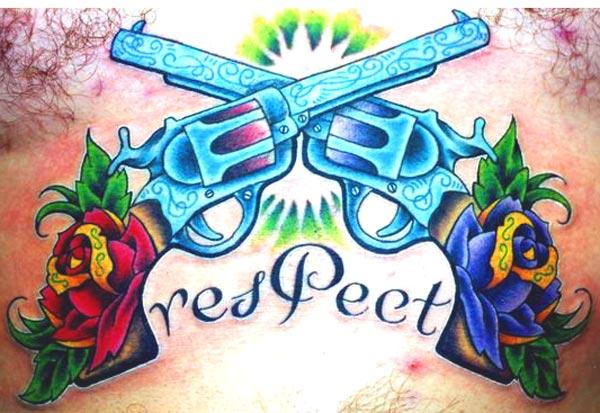 Respect Pistols And Rose Tattoos Below Chest
