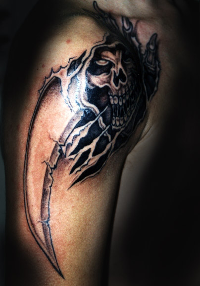 Ripped Skin Skull With Dagger Tattoos On Arm