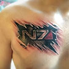 Ripped Skin Video Game Tattoo On Chest