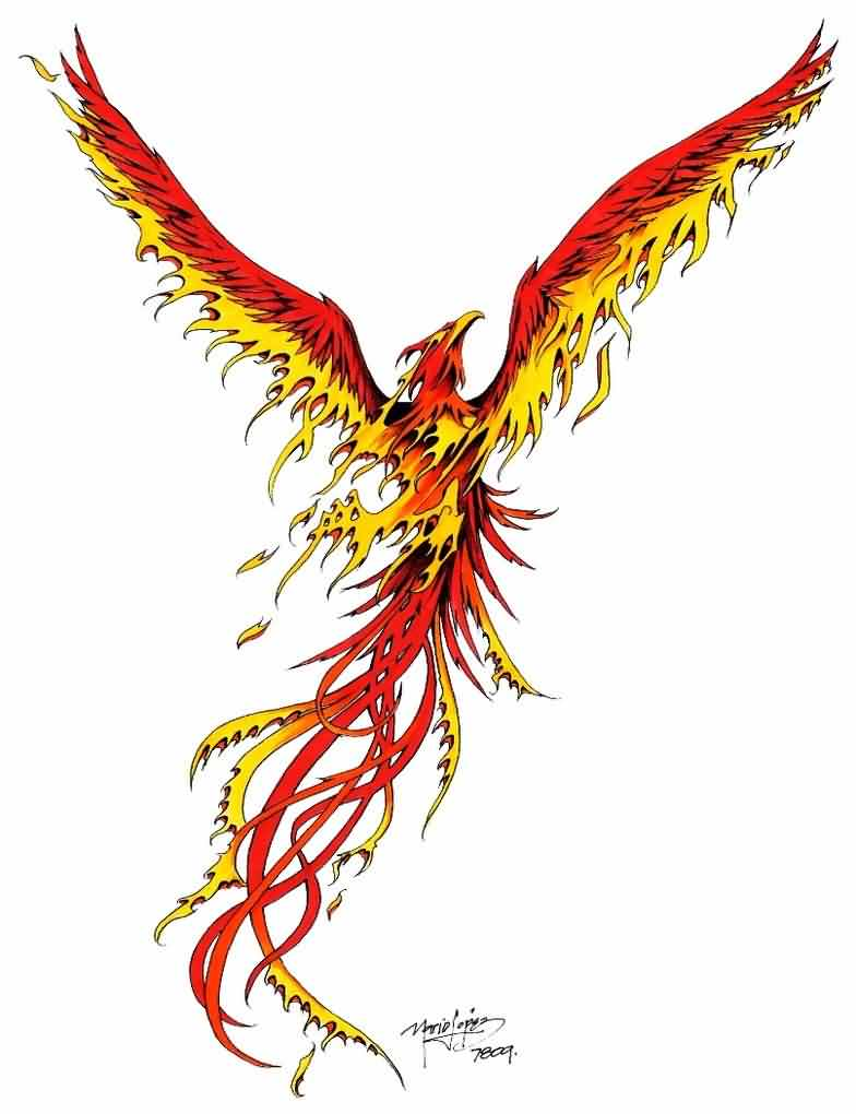Rising Phoenix Tattoo Design