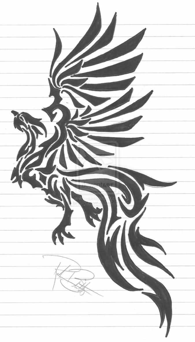 Rising Phoenix Tribal Tattoo Design