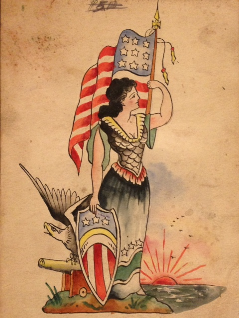Rising Sun And Patriotic Tattoos Flash