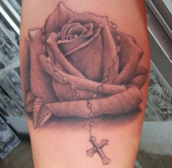 Rosary And Grey Rose Tattoos