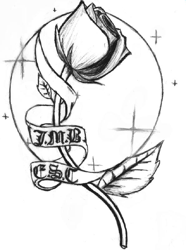 Rose And Banner Tattoos Sketch