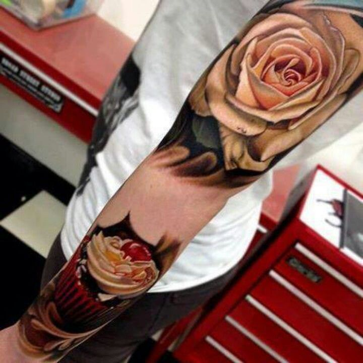 Rose And Cherry Cupcake Tattoos On Sleeve