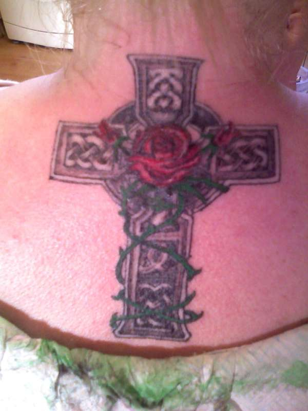 Rose And Grey Celtic Cross Tattoos