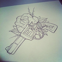 Rose And Pistol Tattoo Drawing Page