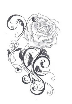 Rose And Swirls Tattoos Sample