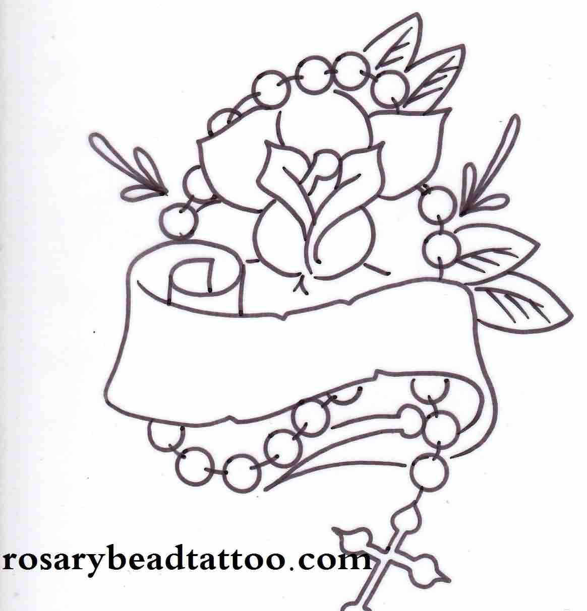 Rose Banner And Rosary Tattoo Sample