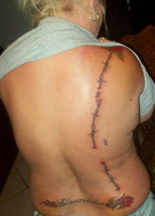 Rose Barb Wire Tattoos On Back
