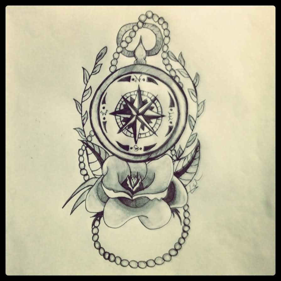 Rose Below Nautical Compass Tattoo Photo