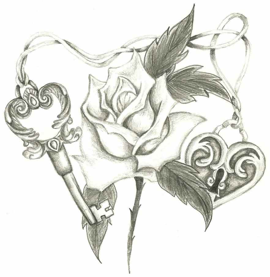 Rose Between Key Lock Tattoo Design