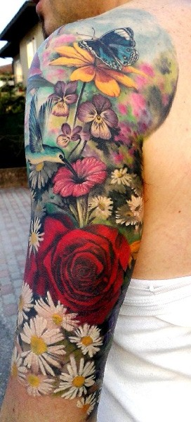Rose Flowers And Butterfly Scene Tattoos On Half Sleeve