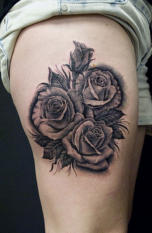 Rose Grey Tattoos On Upper Thigh