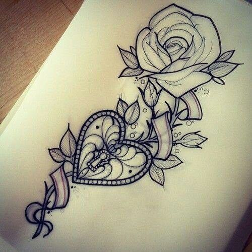 Rose Heart Lock Tattoo Page