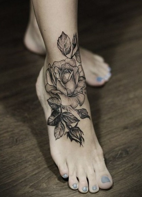 Rose On Foot Tattoo