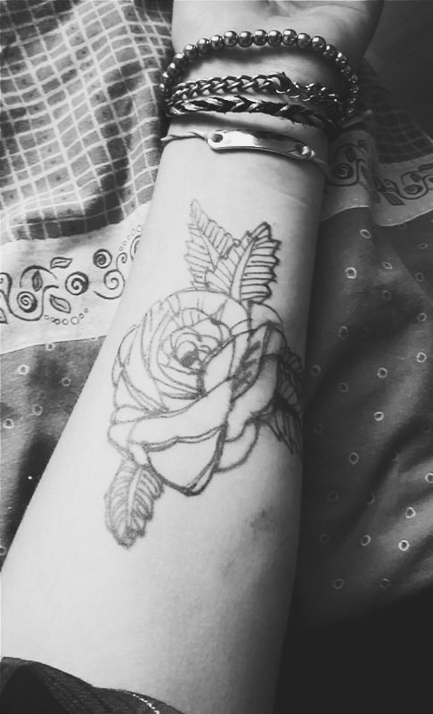 Rose Outline Tattoo On Forearm
