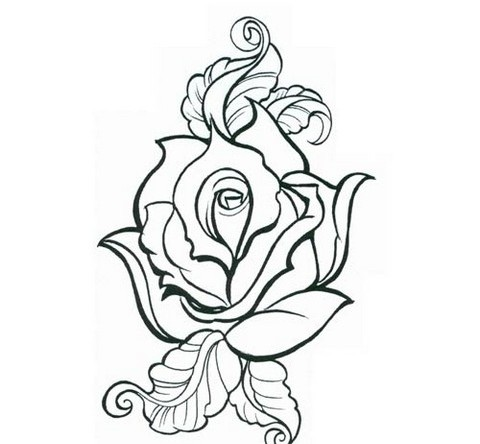 Rose Outline Tattoo Sample