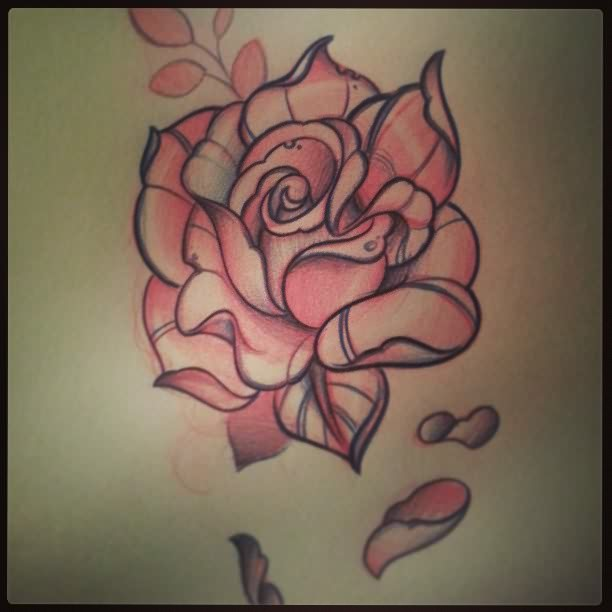 Rose Petals Falling From Pink Rose Tattoo Picture