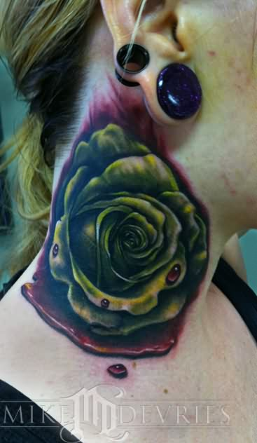 Rose Realistic Tattoo On Neck