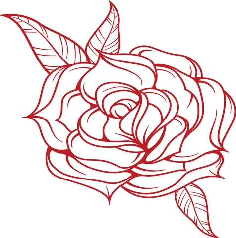 Rose Red Outline Tattoo Sample