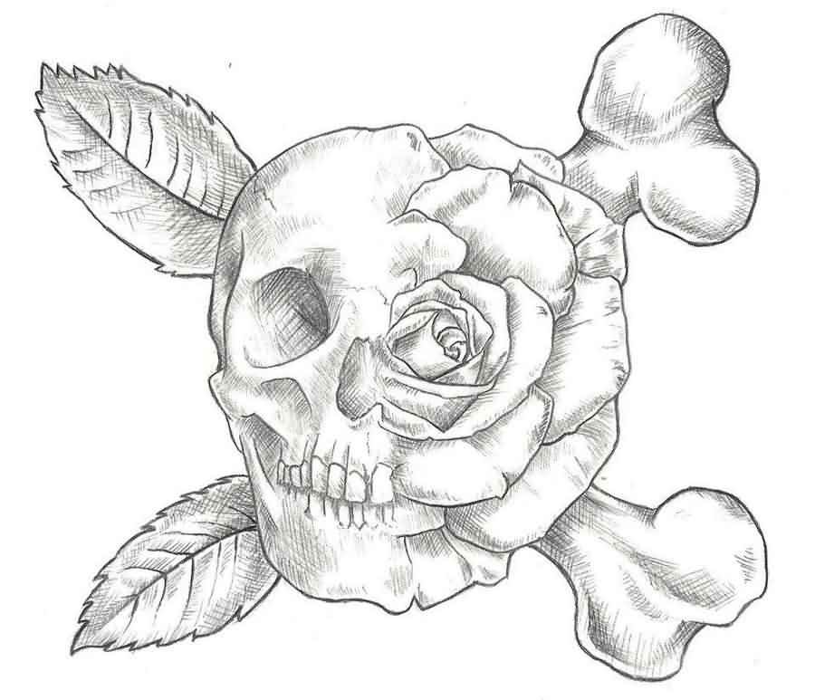 Rose Skull And Crossed Bone Tattoos