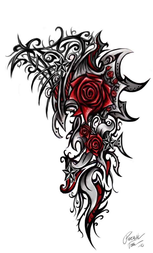 Rose Star Tribal Tattoo Design