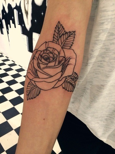 Rose Tattoo On Forearm