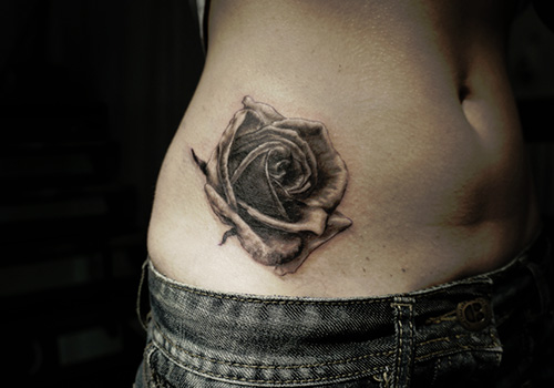 Rose Tattoo On Right Hip